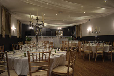 Function room set up for a wedding